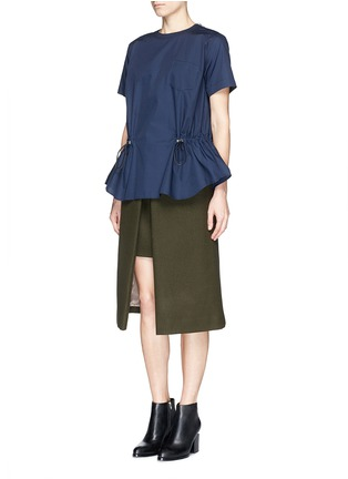 Figure View - Click To Enlarge - SACAI LUCK - Wool felt wrap skirt