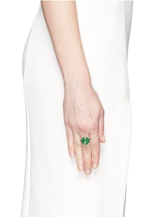 Figure View - Click To Enlarge - Samuel Kung - Jade diamond 18k white gold double brand ring