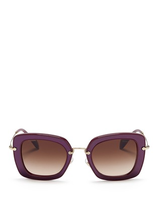 Main View - Click To Enlarge - miu miu - 'Noir' leather inlay acetate metal sunglasses