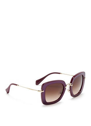 Figure View - Click To Enlarge - miu miu - 'Noir' leather inlay acetate metal sunglasses