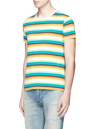 Front View - Click To Enlarge - SAINT LAURENT - Stripe distressed cotton jersey T-shirt