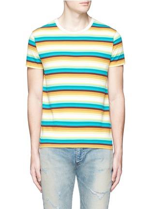 Main View - Click To Enlarge - SAINT LAURENT - Stripe distressed cotton jersey T-shirt