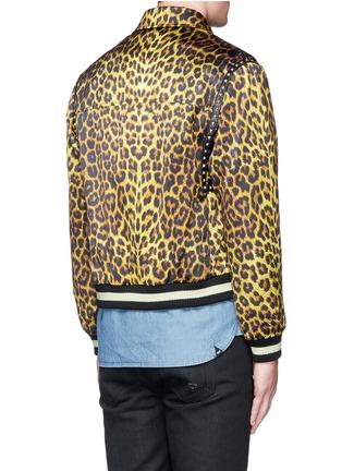Back View - Click To Enlarge - SAINT LAURENT - Stud leopard print Harrington jacket