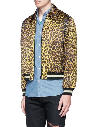 Front View - Click To Enlarge - SAINT LAURENT - Stud leopard print Harrington jacket