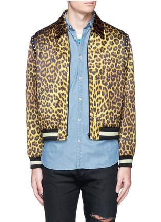 Main View - Click To Enlarge - SAINT LAURENT - Stud leopard print Harrington jacket