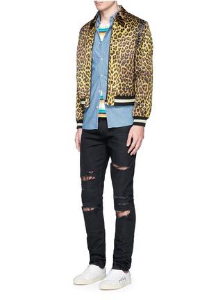 Figure View - Click To Enlarge - SAINT LAURENT - Stud leopard print Harrington jacket
