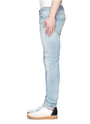 Detail View - Click To Enlarge - SAINT LAURENT - Repaired knee patch distressed skinny jeans