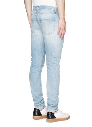 Back View - Click To Enlarge - SAINT LAURENT - Repaired knee patch distressed skinny jeans