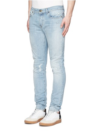 Front View - Click To Enlarge - SAINT LAURENT - Repaired knee patch distressed skinny jeans