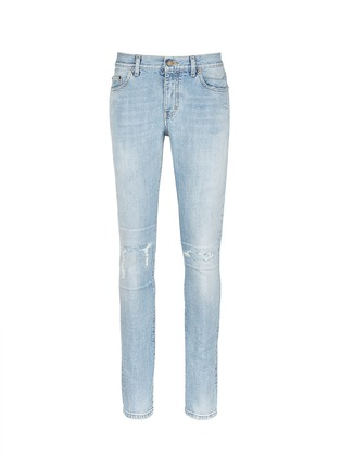 Main View - Click To Enlarge - SAINT LAURENT - Repaired knee patch distressed skinny jeans
