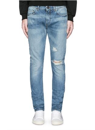 Detail View - Click To Enlarge - SAINT LAURENT - Destroyed knee patch skinny jeans
