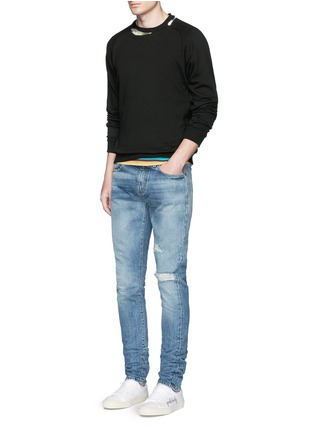 Figure View - Click To Enlarge - SAINT LAURENT - Destroyed knee patch skinny jeans