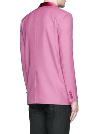 Back View - Click To Enlarge - SAINT LAURENT - Satin shawl lapel wool-Mohair blazer