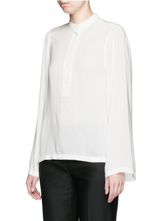 Front View - Click To Enlarge - Helmut Lang - 'Scoop' wide sleeve Cavalry twill top