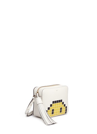 Front View - Click To Enlarge - Anya Hindmarch - 'Pixel Smiley' embossed leather crossbody bag