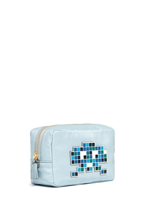 Front View - Click To Enlarge - Anya Hindmarch - 'Space Invaders' leather character reflective nylon cosmetics pouch