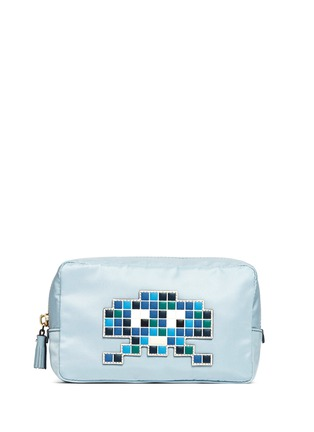 Main View - Click To Enlarge - Anya Hindmarch - 'Space Invaders' leather character reflective nylon cosmetics pouch