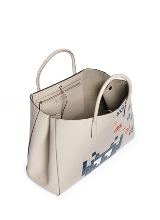 Detail View - Click To Enlarge - ANYA HINDMARCH - 'Space Invaders Maxi Featherweight Ebury' leather tote