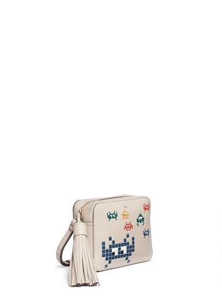 Front View - Click To Enlarge - Anya Hindmarch - 'Space Invaders' embossed leather crossbody bag