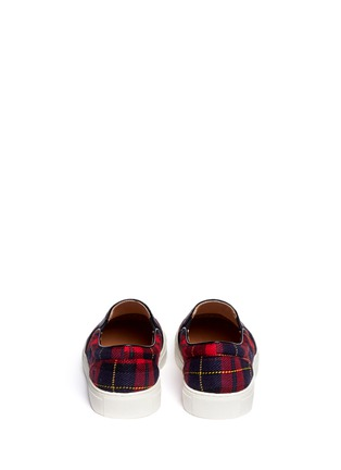 Back View - Click To Enlarge - Pedder Red - Tartan check flannel slip-ons