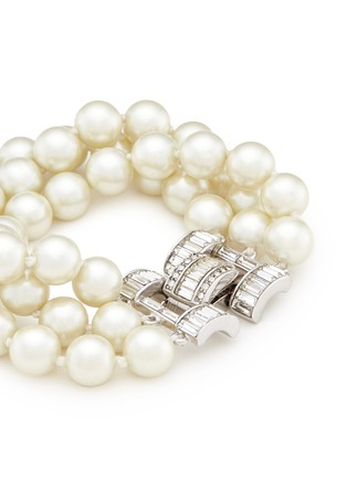 Detail View - Click To Enlarge - Kenneth Jay Lane - Crystal clasp multi strand glass pearl bracelet