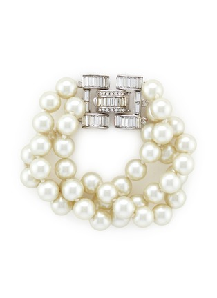 Main View - Click To Enlarge - KENNETH JAY LANE - Crystal clasp multi strand glass pearl bracelet