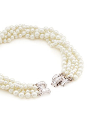Detail View - Click To Enlarge - Kenneth Jay Lane - Crystal clasp multi strand glass pearl necklace