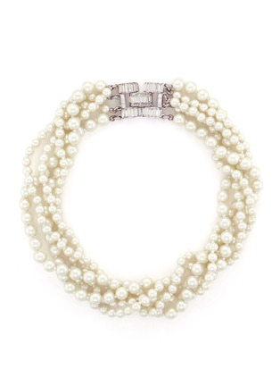 Main View - Click To Enlarge - Kenneth Jay Lane - Crystal clasp multi strand glass pearl necklace