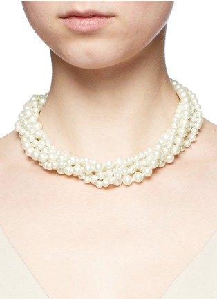 Figure View - Click To Enlarge - Kenneth Jay Lane - Crystal clasp multi strand glass pearl necklace