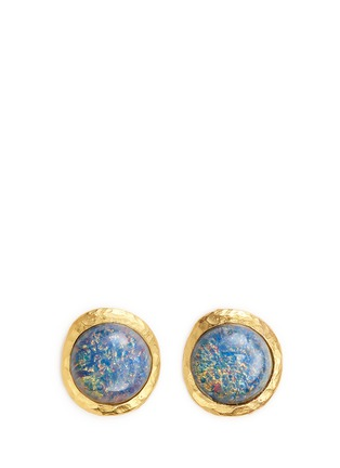Main View - Click To Enlarge - Kenneth Jay Lane - Opalescent glass cabochon clip earrings