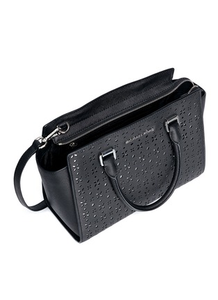 Detail View - Click To Enlarge - MICHAEL KORS - 'Selma' medium perforated leather satchel