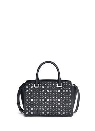 Back View - Click To Enlarge - MICHAEL KORS - 'Selma' medium perforated leather satchel