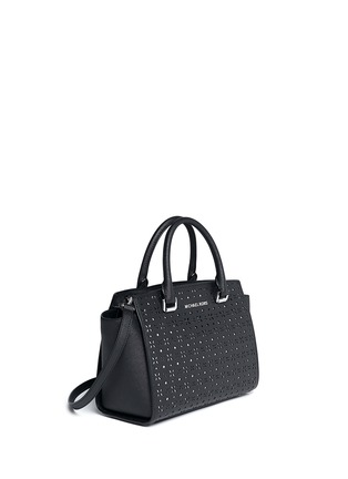 Front View - Click To Enlarge - MICHAEL KORS - 'Selma' medium perforated leather satchel