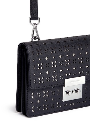 Detail View - Click To Enlarge - Michael Kors - 'Sloan' small floral perforated leather crossbody