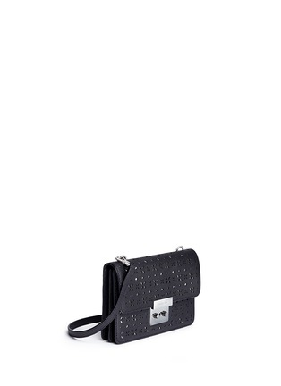 Front View - Click To Enlarge - Michael Kors - 'Sloan' small floral perforated leather crossbody