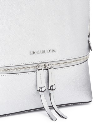 Detail View - Click To Enlarge - MICHAEL KORS - 'Rhea' small metallic saffiano leather backpack