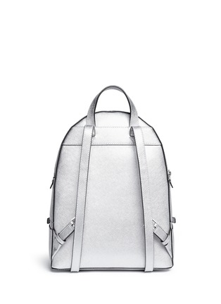Back View - Click To Enlarge - MICHAEL KORS - 'Rhea' small metallic saffiano leather backpack