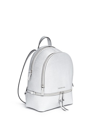 Front View - Click To Enlarge - MICHAEL KORS - 'Rhea' small metallic saffiano leather backpack