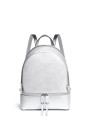 Main View - Click To Enlarge - MICHAEL KORS - 'Rhea' small metallic saffiano leather backpack
