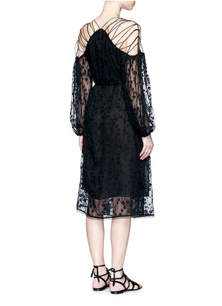 Back View - Click To Enlarge - Zimmermann - 'Eden' floral embroidery silk georgette midi dress