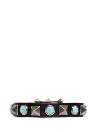 Main View - Click To Enlarge - VALENTINO - 'Rockstud Rolling' cabochon stud leather bracelet