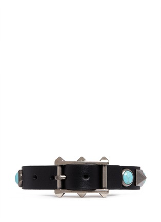 Figure View - Click To Enlarge - Valentino - 'Rockstud Rolling' cabochon stud leather bracelet