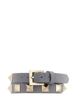 Figure View - Click To Enlarge - Valentino - 'Rockstud' double wrap leather bracelet