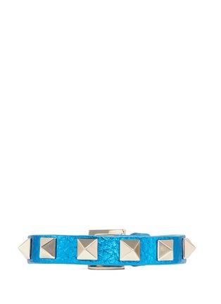 Main View - Click To Enlarge - Valentino - 'Rockstud' skinny metallic leather bracelet