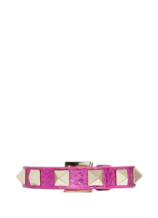 Main View - Click To Enlarge - Valentino - 'Rockstud' skinny metallic leather bracelet
