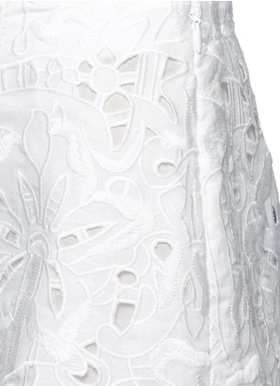 Detail View - Click To Enlarge - Theory - ''Micro E' floral cutwork embroidery linen-cotton shorts