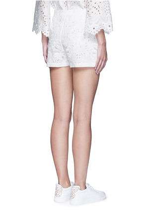 Back View - Click To Enlarge - Theory - ''Micro E' floral cutwork embroidery linen-cotton shorts