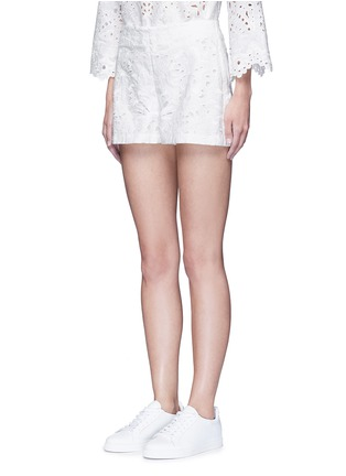 Front View - Click To Enlarge - Theory - ''Micro E' floral cutwork embroidery linen-cotton shorts