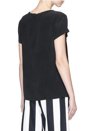 Back View - Click To Enlarge - Theory - 'Bakeeve' fold cuff silk georgette T-shirt