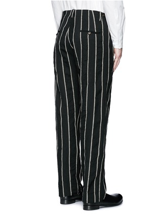 Back View - Click To Enlarge - UMA WANG  - 'Vittorio' chalk stripe wool-linen wide leg pants